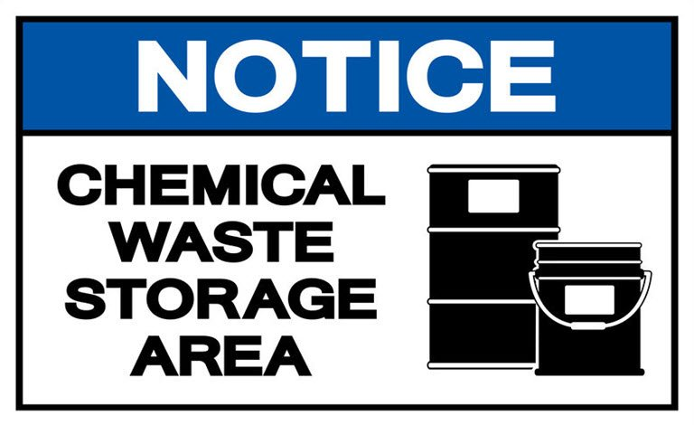 Chemical waste storage area